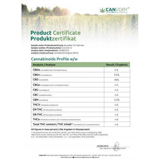 SKYWALKER OG CBD Cannabidiol DAB WAX 90 %, 500mg